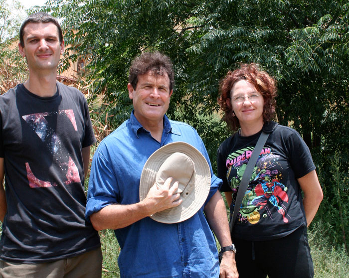 With husband and fellow artist Jaco Spies with Johnny Clegg